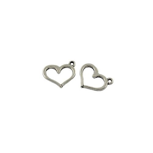6 pieces Silver Heart Charm 13x16mm