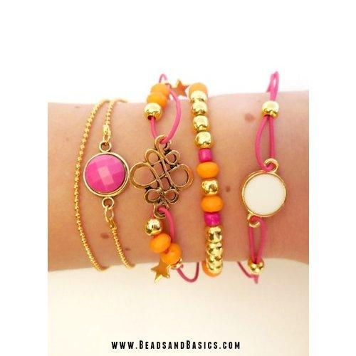 Armbandjes goud met roze