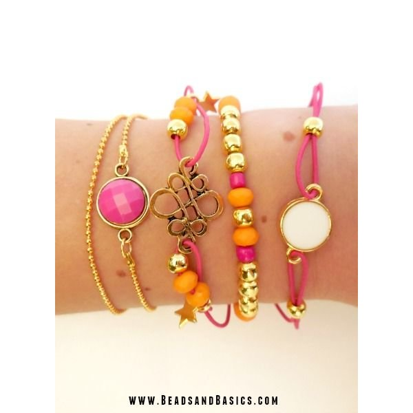 Gold bracelets with pink