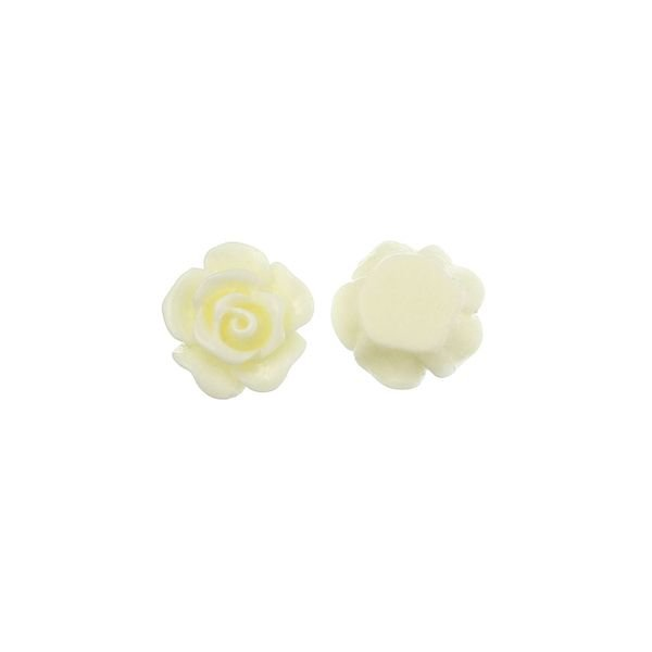 White Rose Cabochon 10mm, 8 pieces
