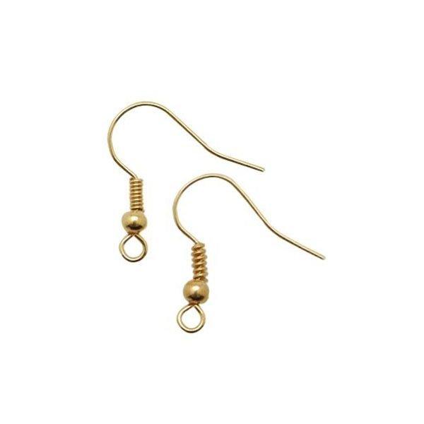 Earring Hooks Gold 19mm Nickel Free, 10 pair