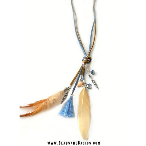 Boho Feathers Necklace Blue with Brown