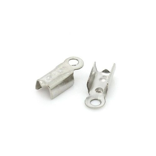 20 pieces Fold Over Cord End Silver 4x10mm Nickel Free
