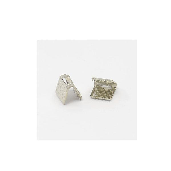 Fold Over Cord End Silver 6x8mm, 20 pieces