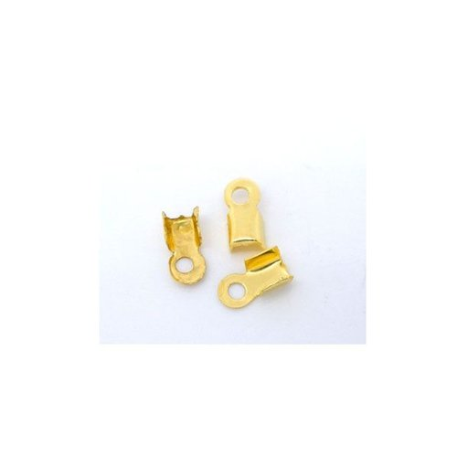 20 pieces  Fold Over Cord End Gold 6x3mm