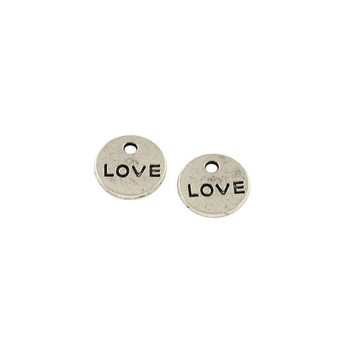 8 pcs Silver Charm Love 9mm