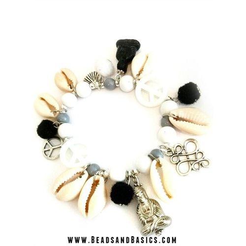 Ibiza Buddha Bracelet Black White Mix