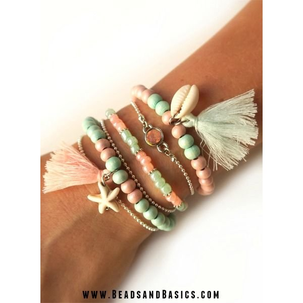 Summer Bracelets in Mint and Pink