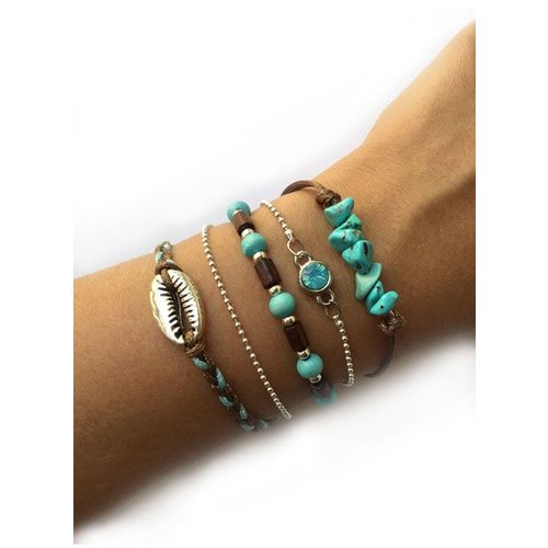 Bracelet Set with Turquoise Chip Gemstone Beads