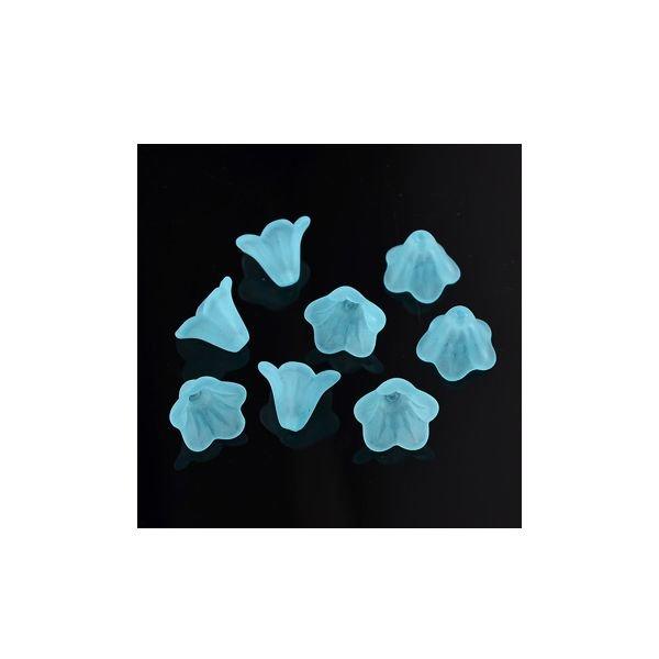 6 stuks Bloem Kralen Blauw 14x10mm