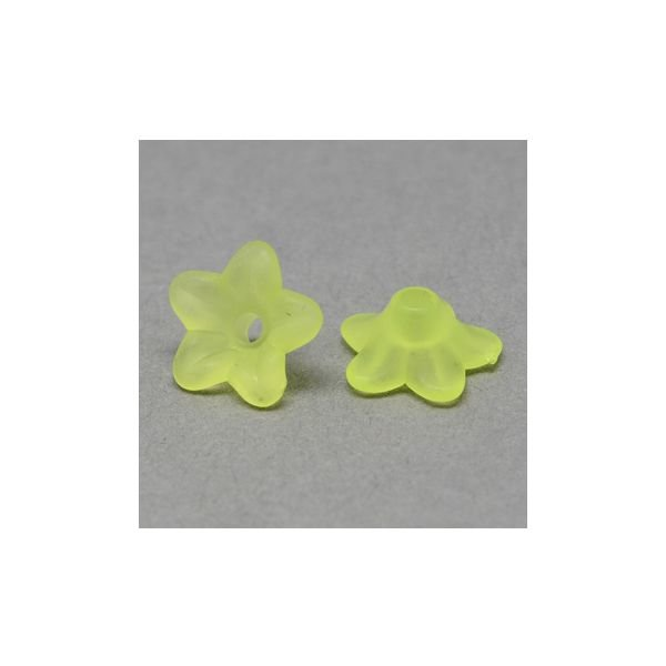 10 pcs Green Flower Beads 9x4mm