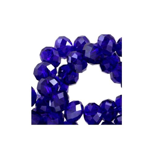50 pieces Facet Bead Cobalt Blue 6x4mm