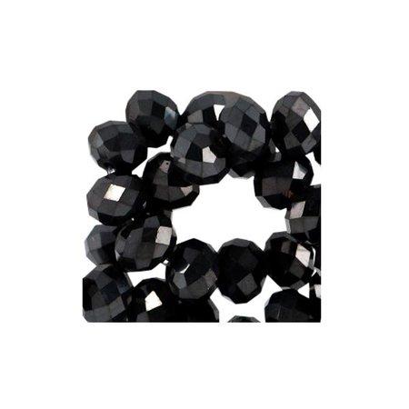 80 stuks Facetkralen Zwart Shine 3x2mm