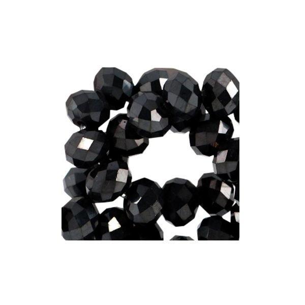 80 stuks Facet Glaskralen Zwart Shine 3x2mm