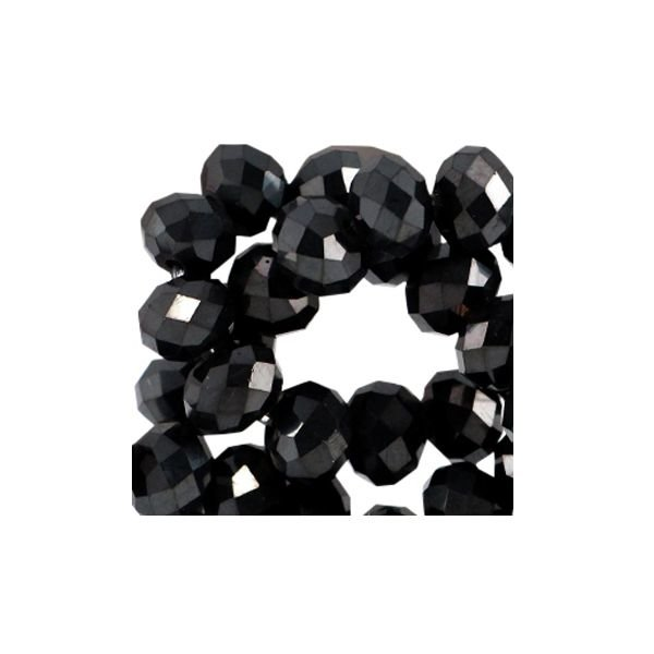 Faceted Glassbeads Black Shine 2.5x2mm, 80 pieces