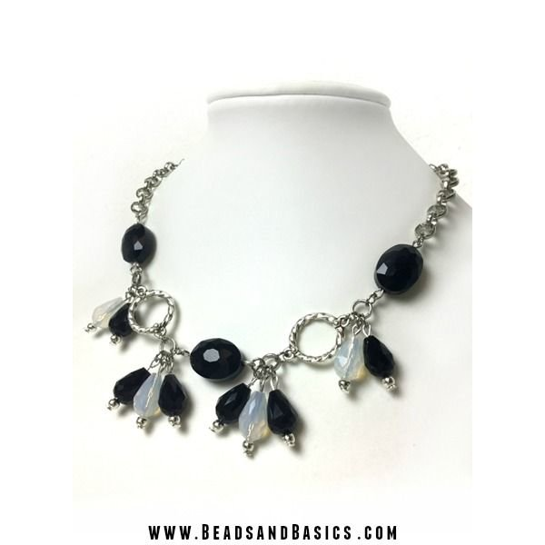 Black White Drop Necklace