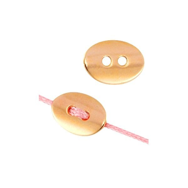 Metal Button Rose Gold 14x10mm, 5 pieces