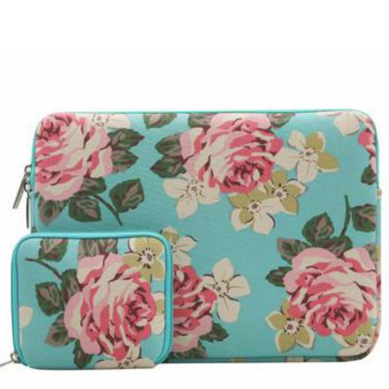 13inch Dames Laptop Sleeve Roses Blauw