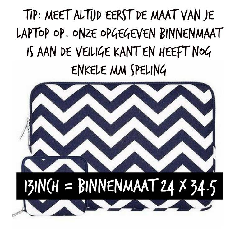 13inch Dames Laptop Sleeve Zigzag Donkerblauw