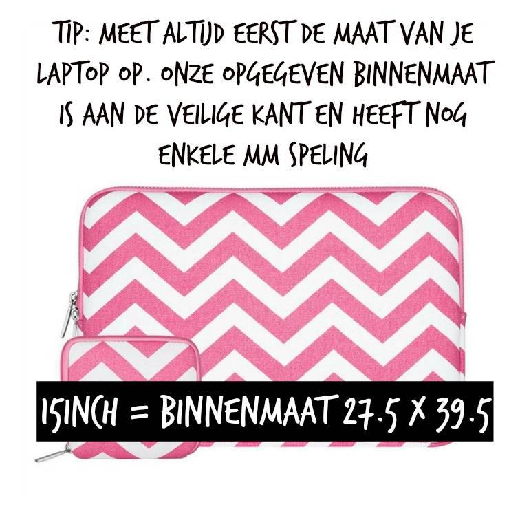 15inch Dames Laptop Sleeve Zigzag Roze