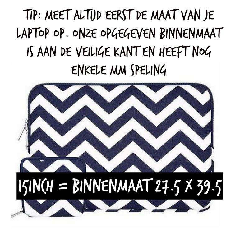 15inch Dames Laptop Sleeve Zigzag Blauw
