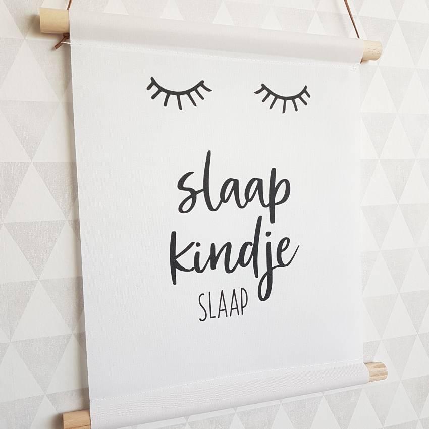 Textiel Poster zwart wit Slaap Kindje Slaap