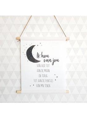 Textiel Poster zwart wit Ik hou van jou