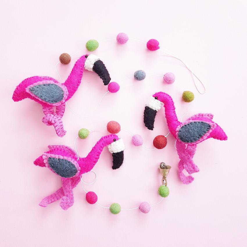 Babykamer Slinger / Guirlande Vilten Flamingo's