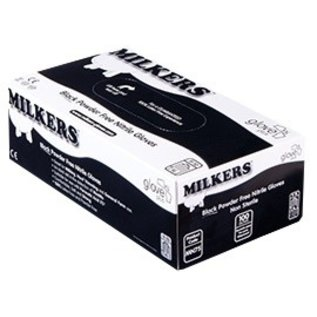 Barber Healthcare MILKERS Einweg Nitril Melkhandschuhe Glove Plus MILKERS puderfrei schwartz extra dick(10x100)