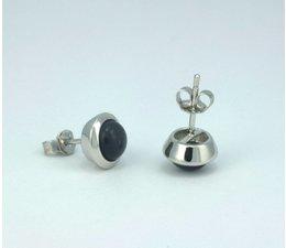 zilver oorknop met ''cat's eye'' steen