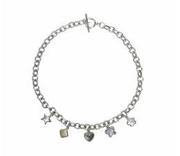 zilver halsketting met hangertjes parelmoer