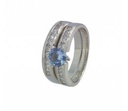 zilver dubbel ring met blauwe en witte zirkonia's