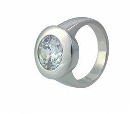 zilver ring met grote zirkonia
