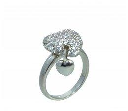 zilver ring hartvorm met zilver hartje