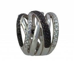 zilver ring vier rijen zirkonia