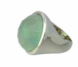 zilver ring met groen fluoriet gefaceteerd