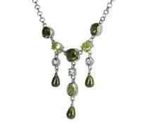 zilver halsketting met groene en witte zirkonia's