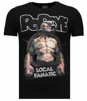 Local Fanatic The Sailor Man Popeye Rhinestone - Man T Shirt - 5760Z - Svart