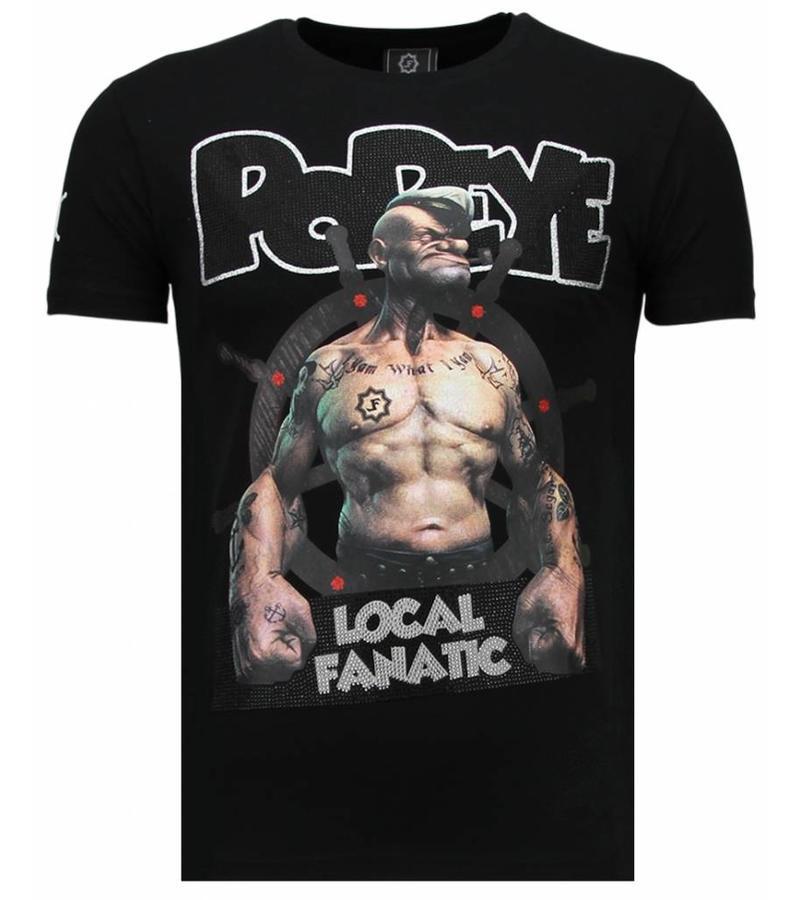 Local Fanatic The Sailor Man Popeye Rhinestone - Man T Shirt - 5760Z - Svart