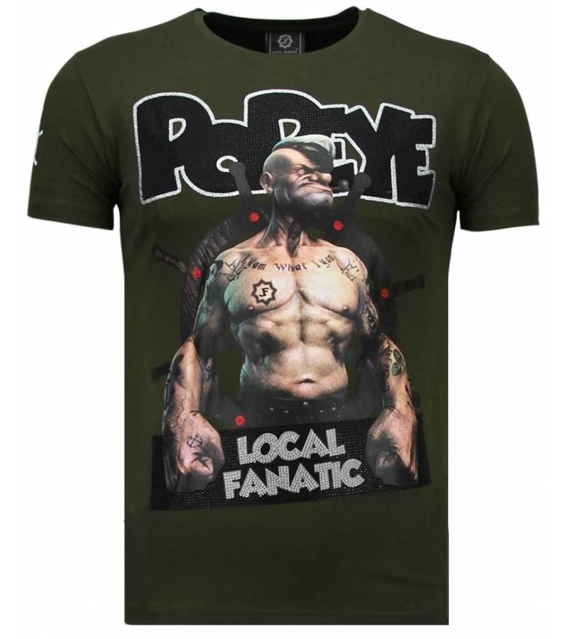 Local Fanatic The Sailor Man Popeye Rhinestone - T Shirt Herr - 5760G - Grön
