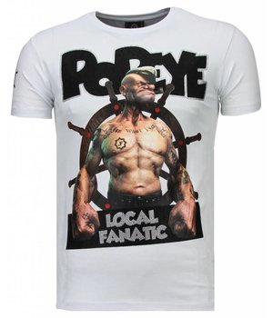 Local Fanatic The Sailor Man Popeye Rhinestone - Herr T Shirt - 5760W - Vit