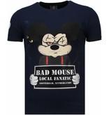 Local Fanatic State Prison Bad Mouse Rhinestone - Man T Shirt - 5764N - Marinblå