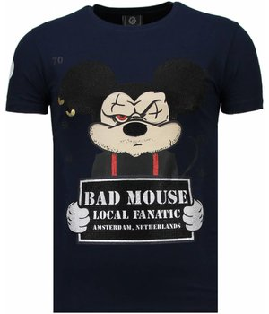 Local Fanatic State Prison Bad Mouse Rhinestone - Man T Shirt - 5764N - Marinblå