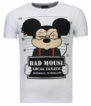 Local Fanatic State Prison Bad Mouse Rhinestone - Herr T Shirt - 5764W - Vit