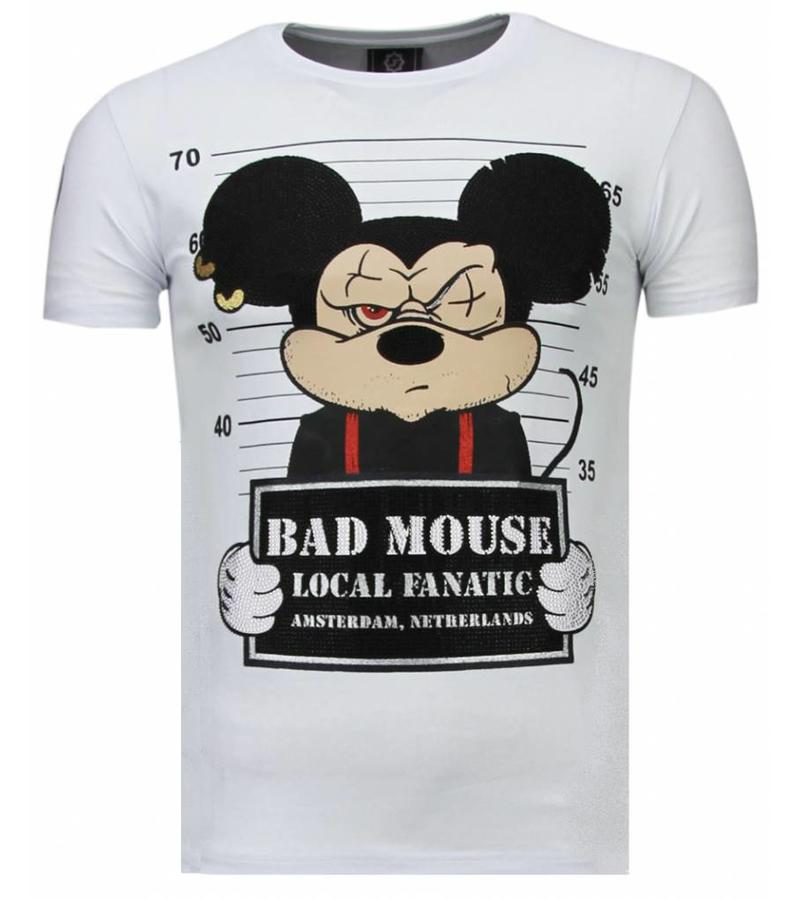 Local Fanatic State Prison Bad Mouse Rhinestone - Herr T Shirt - 5764W - Vit