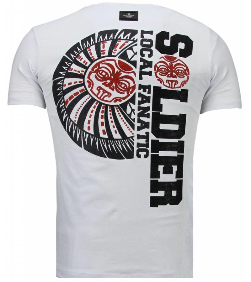 Local Fanatic The Rock Rhinestone - Herr T Shirt - 5763W - Vit