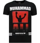 Local Fanatic Muhammad Ali Rhinestone - Man T Shirt - 5762Z - Svart