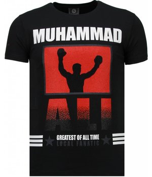 Local Fanatic Muhammad Ali Rhinestone - Man T Shirt - 5762Z - Svart