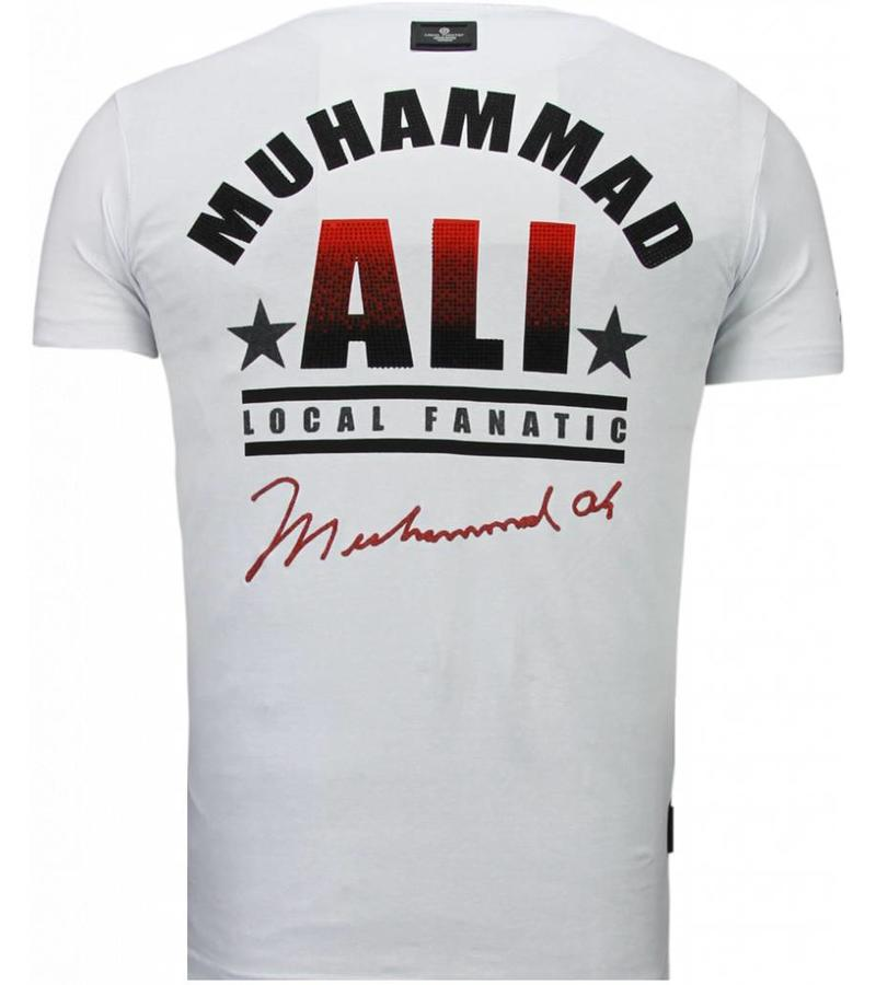 Local Fanatic Muhammad Ali Rhinestone - Herr T Shirt - 5762W - Vit