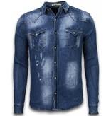 Enos Snygg skjorta till jeans - Casual skjortor herr - CJ-987B - Blå